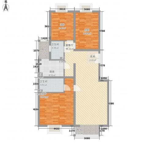 CBD总部公寓3室1厅2卫1厨138.00㎡户型图