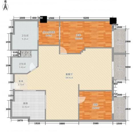 万都阿波罗2室1厅2卫1厨135.64㎡户型图