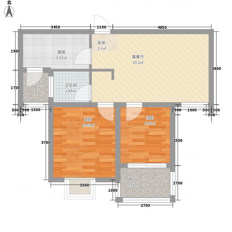 宝安江南城2室1厅1卫1厨68.00㎡户型图