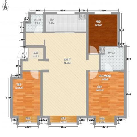 万科蓝山3室1厅2卫1厨91.71㎡户型图