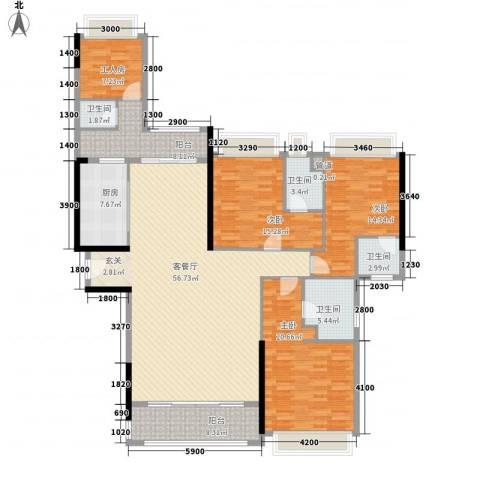 五洲家园3室1厅4卫1厨152.24㎡户型图