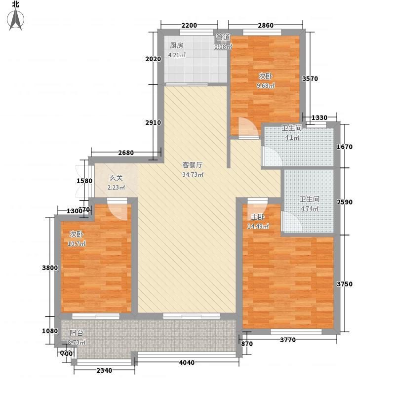 东方城13.10㎡标准层B8户型3室2厅2卫1厨
