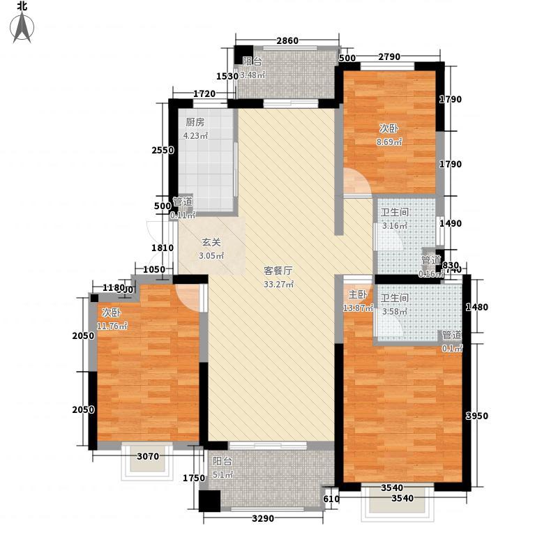 郑州国瑞城3室1厅2卫1厨127.00㎡户型图