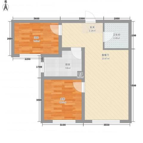万晟幸福里2室1厅1卫1厨70.00㎡户型图
