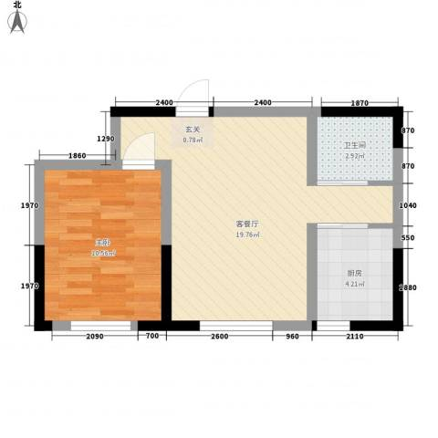 怡众名城1室1厅1卫1厨58.00㎡户型图