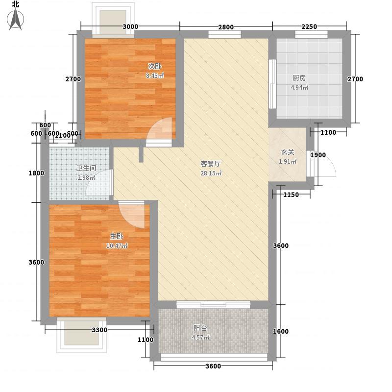宝安江南城82.00㎡一梯三户L标准层户型2室2厅1卫1厨