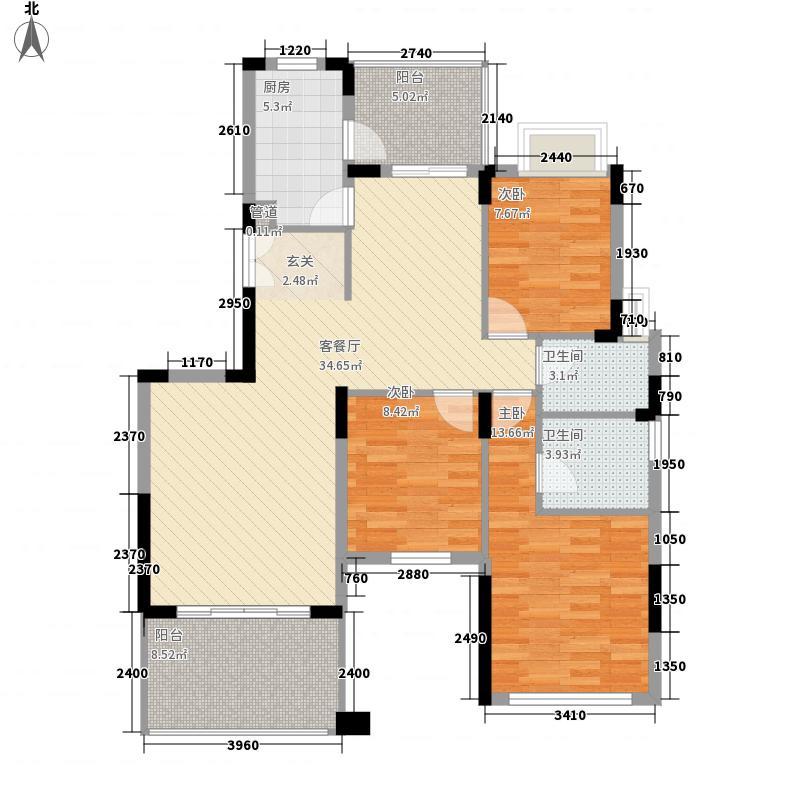 半岛1号五期128.51㎡D3奇数层户型3室2厅2卫1厨