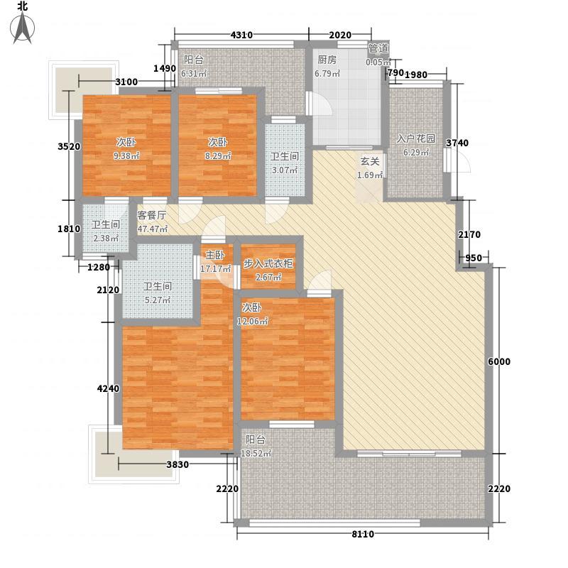 国际苑166.00㎡C2户型4室2厅3卫1厨