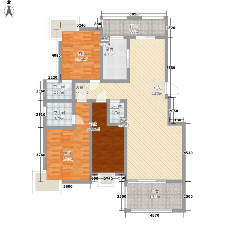 国际苑135.00㎡B6户型3室2厅3卫1厨