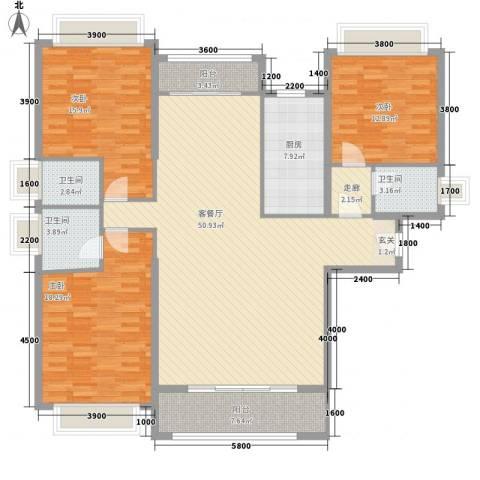 五洲家园3室1厅3卫1厨129.03㎡户型图