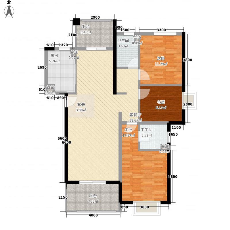 郑州国瑞城3室1厅2卫1厨99.01㎡户型图