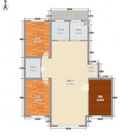 宏益大厦3室1厅2卫1厨159.00㎡户型图