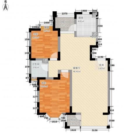 清沁家园2室1厅1卫1厨89.03㎡户型图