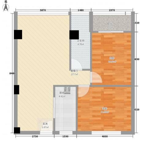 香港公馆2室1厅1卫1厨88.00㎡户型图