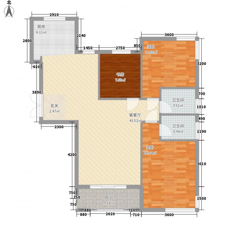 城市印象12.00㎡a3--c3#楼A户型3室2厅1卫1厨