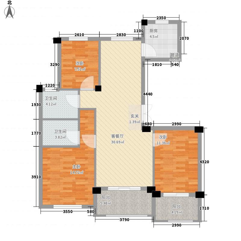 新中宇维萨3室1厅2卫1厨122.00㎡户型图