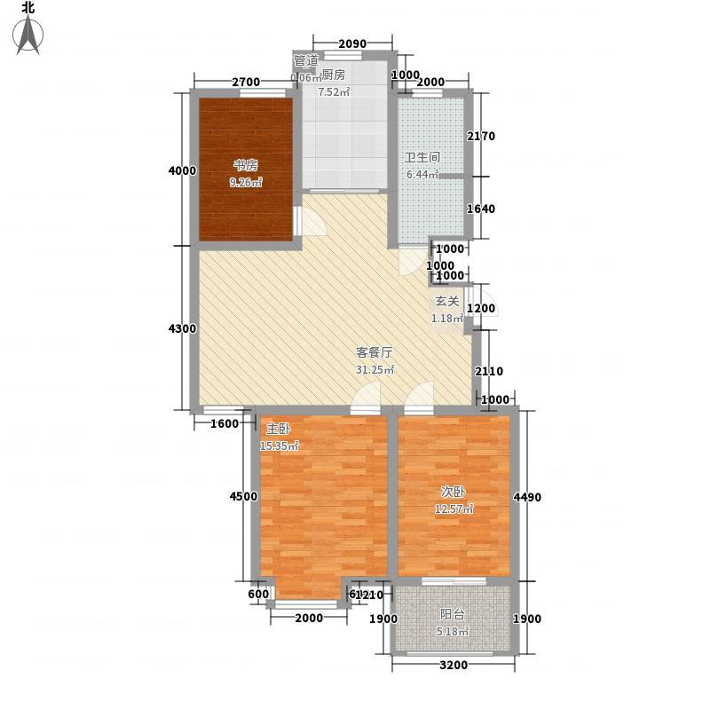 中动动漫基地3室1厅1卫1厨122.00㎡户型图