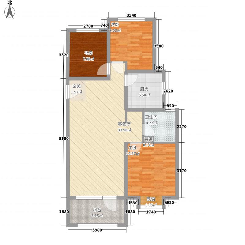 海尔・云世界3室1厅1卫1厨113.00㎡户型图