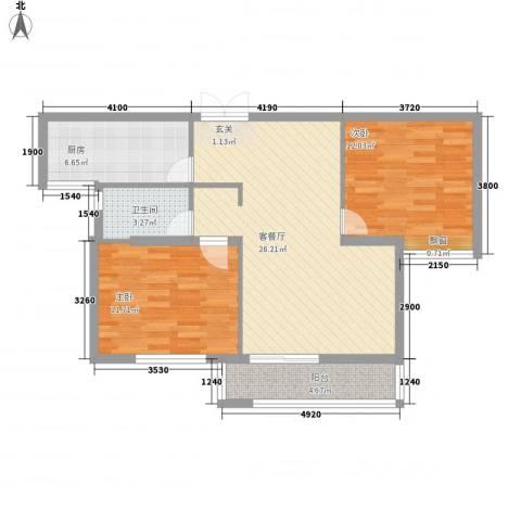 东方城2室1厅1卫1厨64.54㎡户型图