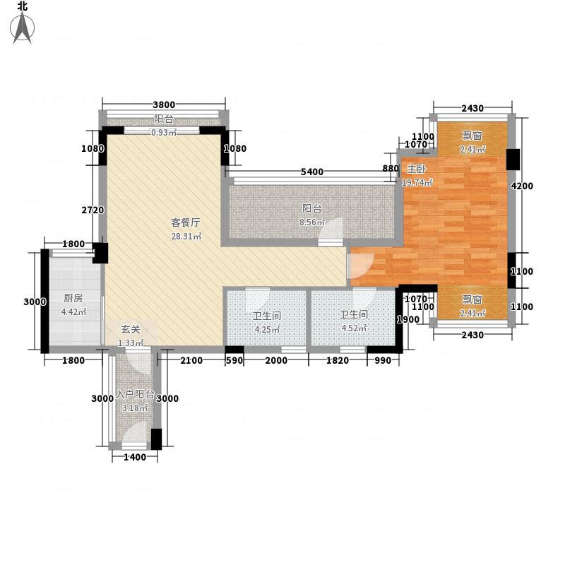 亿鼎中心1室1厅2卫1厨74.02㎡户型图