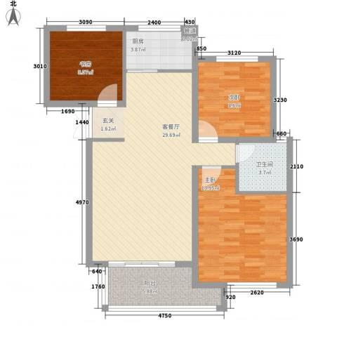 东方城3室1厅1卫1厨73.80㎡户型图
