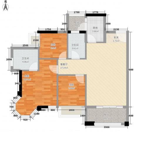 风度广场3室1厅2卫1厨104.00㎡户型图
