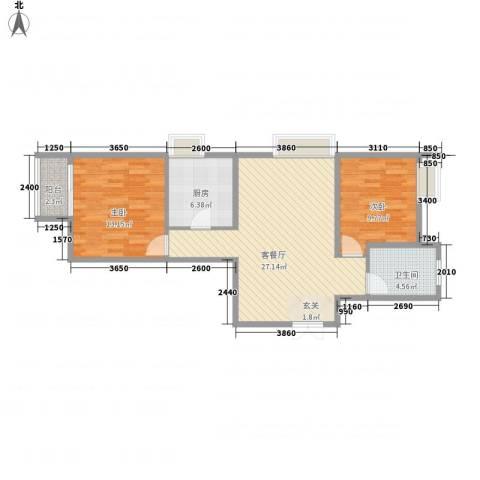 恒实城市广场・新城市花园2室1厅1卫1厨90.00㎡户型图