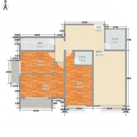恒实城市广场・新城市花园3室1厅2卫1厨185.00㎡户型图