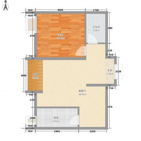 恒实城市广场・新城市花园1室1厅1卫1厨78.00㎡户型图