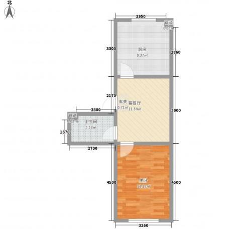 翠月嘉苑1室1厅1卫1厨54.00㎡户型图