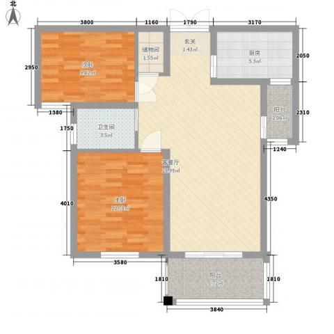 弘达名筑2室1厅1卫1厨69.72㎡户型图