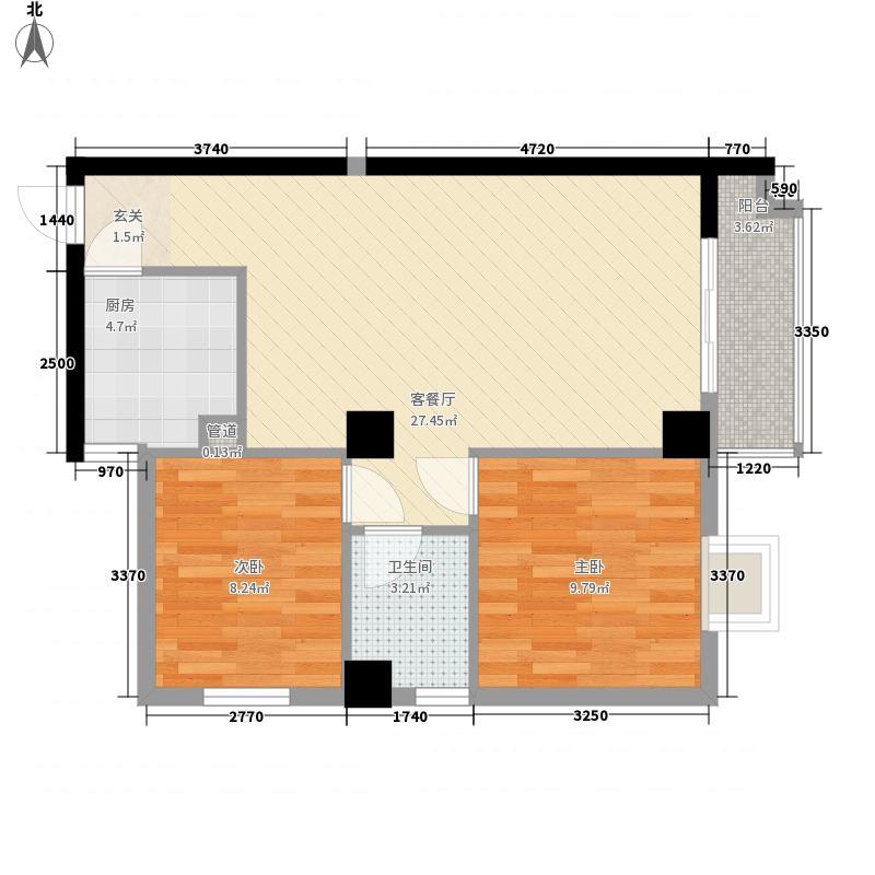 万象星城广场82.00㎡7号楼B1户型2室2厅1卫1厨