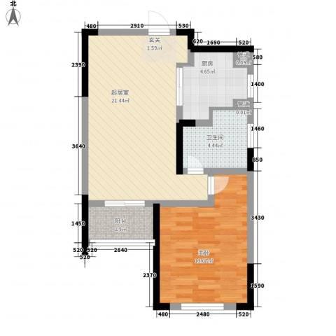 香堤澜湾二期爱琴岛1室0厅1卫1厨70.00㎡户型图