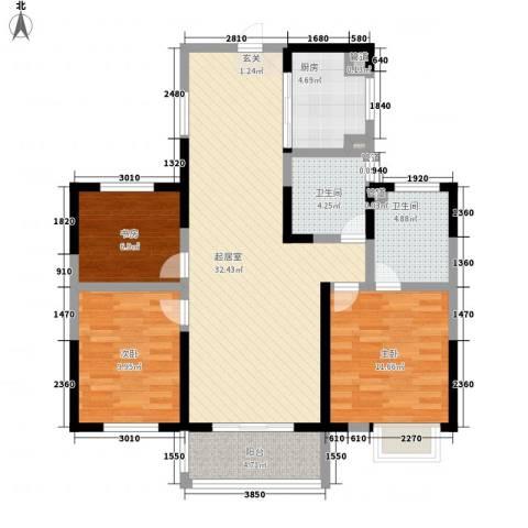 香堤澜湾二期爱琴岛3室0厅2卫1厨118.00㎡户型图