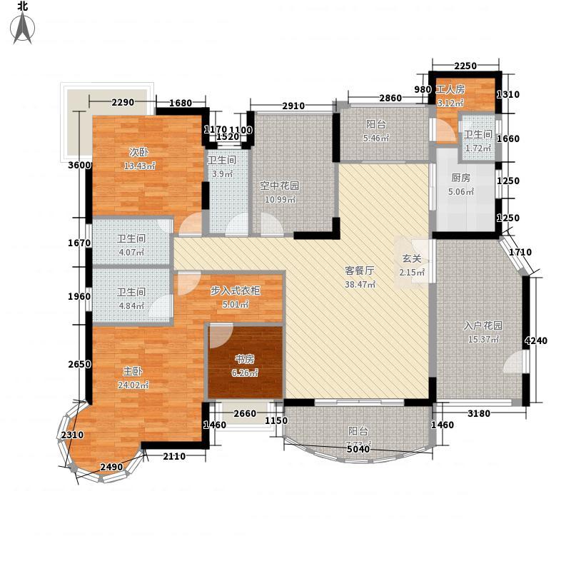 三远大爱城3室1厅4卫1厨144.43㎡户型图