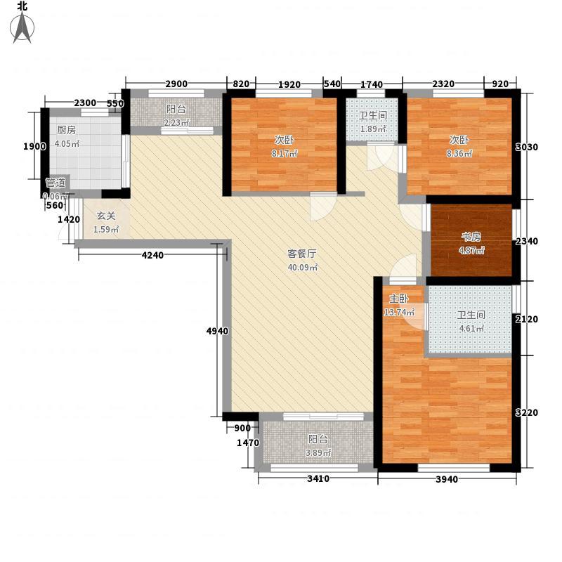 武汉恒大首府14.00㎡1号楼F户型4室2厅2卫1厨