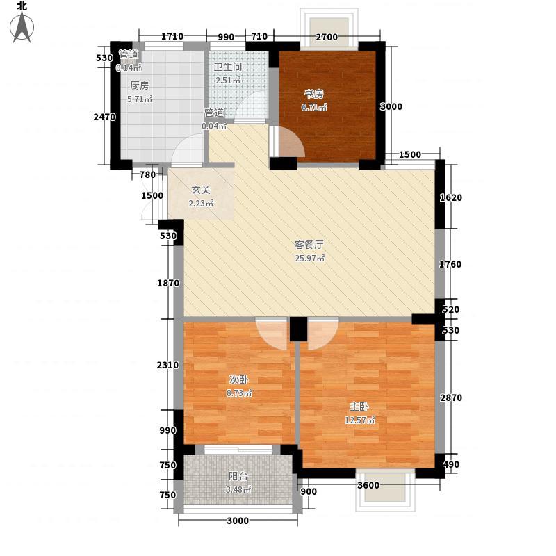 岸上玫瑰91.98㎡岸上玫瑰户型图3#C户型3室2厅1卫1厨户型3室2厅1卫1厨