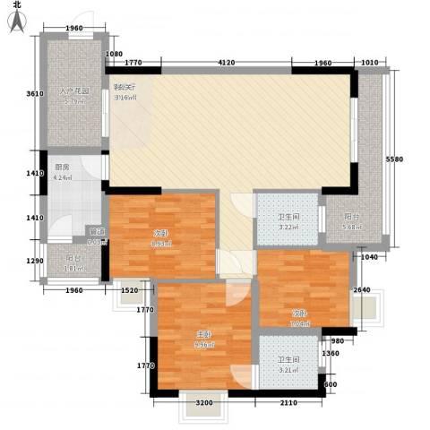 乐然水畔3室1厅2卫1厨87.00㎡户型图