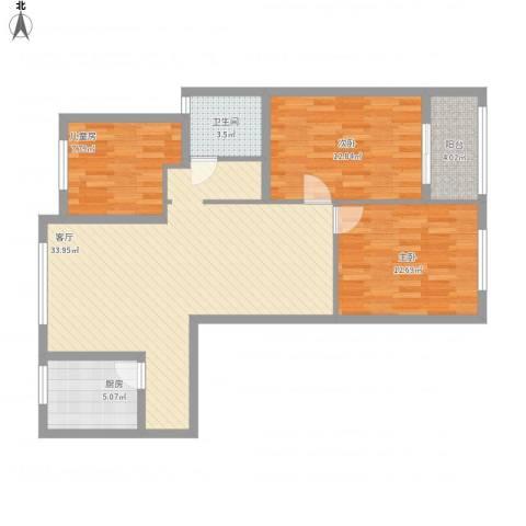 蓝天新苑3室1厅1卫1厨113.00㎡户型图