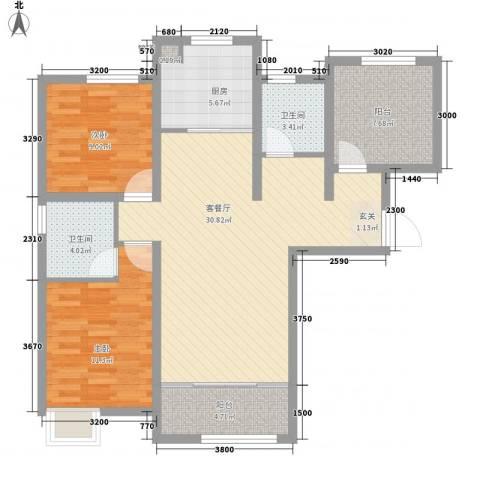 潮白河孔雀英国宫2室1厅2卫1厨88.39㎡户型图