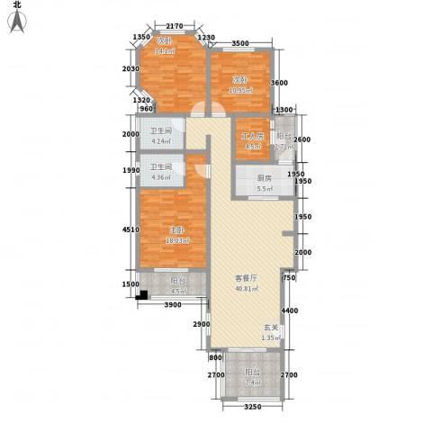 泉山森林海3室1厅2卫1厨137.00㎡户型图