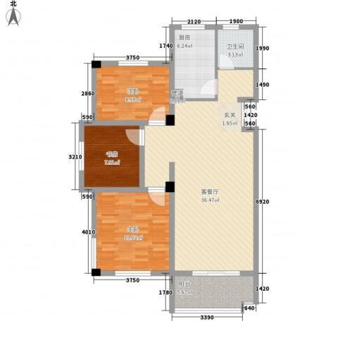岸上玫瑰3室1厅1卫1厨116.00㎡户型图
