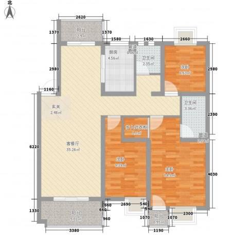 岸上玫瑰3室1厅2卫1厨129.00㎡户型图
