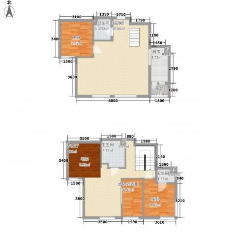 莱镇香格里2室2厅3卫1厨148.00㎡户型图