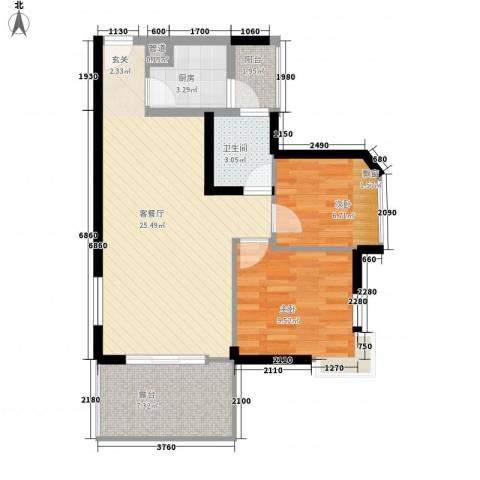 锦绣江南2室1厅1卫1厨82.00㎡户型图