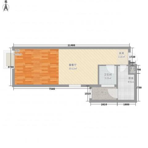 环球国际1厅1卫1厨50.40㎡户型图