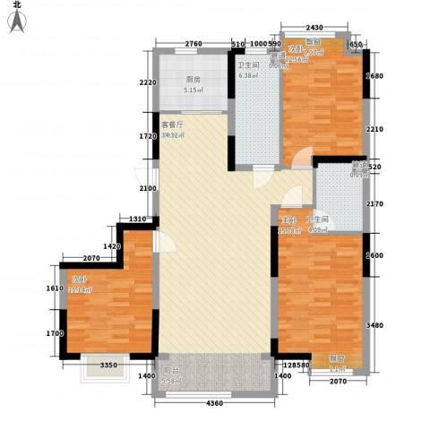 保利香槟湾3室1厅2卫1厨95.14㎡户型图