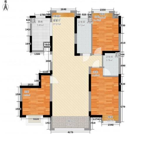 保利香槟湾3室1厅2卫1厨94.84㎡户型图