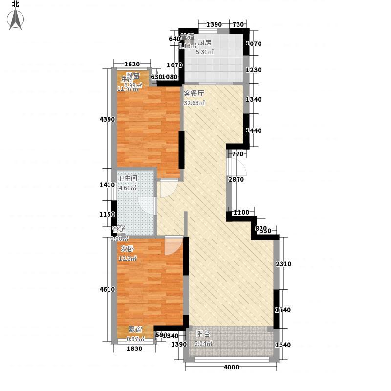 保利香槟湾5.53㎡一期F2户型2室2厅1卫