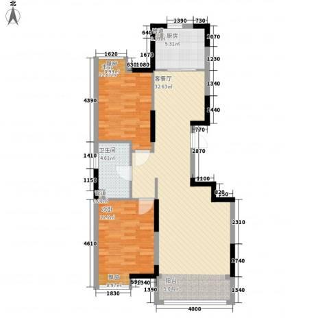 保利香槟湾2室1厅1卫1厨71.47㎡户型图